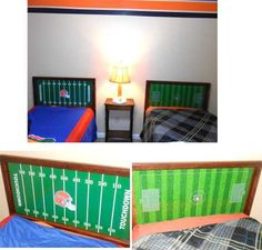 Custom decals for headboards for the kids. http://www.vinyl-decals.com/football_tabletop-FootballTableTop.php