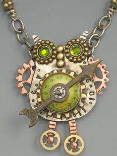 This steampubnk owl is a great combination of watch parts, hand-stamped metal, spacer beads & Swarovski crystals! Photo courtesy of riverpat...