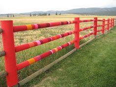 .Yarn bombed fence, but yes!