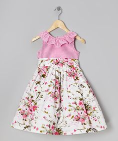 Take a look at this Pink & White Floral Stripe Ruffle Dress - Girls by Marmellata on #zulily today!