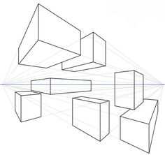 Drawing Boxes with Two Point Perspective    In this lesson, you use two point geometric perspective to transform seven vertical lines into seven three dimensional boxes.Two boxes are above the horizon line, two on the horizon line, and three below.