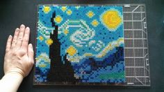 Starry Night perler bead art by Katie Bradley