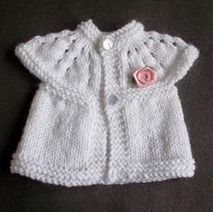 Welcome your newest little angel into the world with this Cute and Cozy Preemie Cardigan. Using a combination of garter stitch, stockinette stitch, and lace knitting technique, this baby shirt pattern is knitted from the top down and makes a beautifu Baby Cardigan Knitting Pattern Free, Baby Knitting Patterns, Baby Patterns, Crochet Patterns, Knit Baby Sweaters, Knitted Baby Clothes, Knitting For Kids, Free Knitting, Premature Baby
