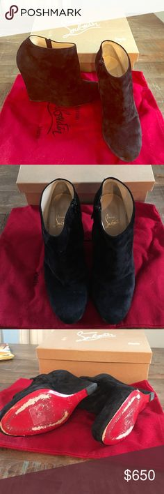 Authentic Christian Louboutin booties! Beautiful black suede louboutin booties!  Inner zipper. Worn only 2x but the red on the bottom do look worn.  Comes with original box and dust bag. Christian Louboutin Shoes Ankle Boots & Booties