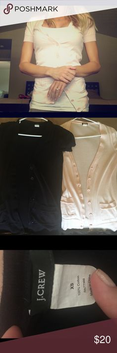 Two J Crew cardigan sweaters! 100% Cotton J Crew short sleeve cardigans! Perfect over camisoles or dresses. 2 for the price of 1! Excellent condition! J. Crew Sweaters Cardigans