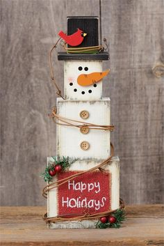 """Remove """"happy holidays"""" and holly Winter Wood Crafts, Christmas Wood Crafts, Snowman Crafts, Homemade Christmas, Christmas Snowman, Rustic Christmas, Christmas Projects, Holiday Crafts, Christmas Decorations"""