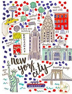 New York Map Print, www.evelynhenson.com