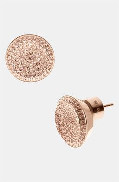 Michael Kors Rose Gold Stud Earrings with All Over Crystal Pave – Rose golden brass stud earrings, All around Czech crystal pave detail. See larger image Michael Kors MKJ Bijoux Michael Kors, Michael Kors Earrings, Michael Kors Outlet, Handbags Michael Kors, Michael Kors Bag, Mk Handbags, Designer Handbags, Rose Earrings, Diamonds
