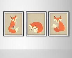 Foxes Set of Three Fox Art Print Posters  Fox by BySamantha, $30.00