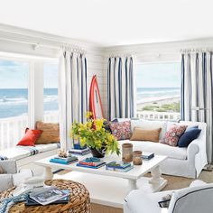 Ocean-View Cottage Living Room - 15 Shiplap Wall Ideas for Beach House Rooms - Coastal Living