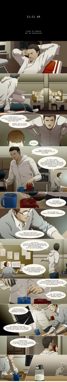 """A typical morning for Shaun. """"11:51 AM"""" by doubleleaf on DeviantArt.com."""