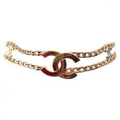 Belt CHANEL ($880) ❤ liked on Polyvore featuring accessories, belts, buckle belt, logo belts, golden belt, chanel belt and chanel