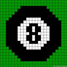 Small 8 ball chart for cross stitch, knitting, knotting, weaving, pixel art, and other crafting projects.