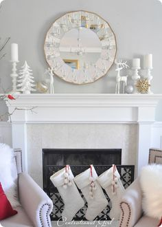 Love the idea of adding a few loose ornaments to the mantel! From @Centsational Girl