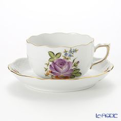 Herend Petit Bouquet de Rose Pourple Teacup with saucer 200 ml, PBR-6 00724-0-00