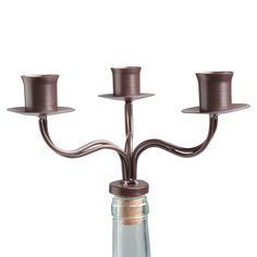wine bottle triple taper candle holder antique bronze 203741 - tag ltd.