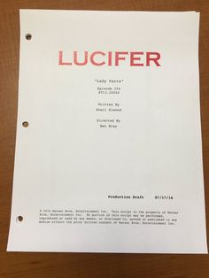 """#Lucifer #Ep204 titled """"Lady Parts"""" written by @elwoodink"""