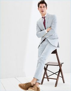 Argentinean model Nicolas Ripoll is front and center in a Ludlow Japanese seersucker suit. Nicolas also sports a Ludlow cotton oxford shirt, an English silk repp tie, and Kenton crepe-sole bucks.