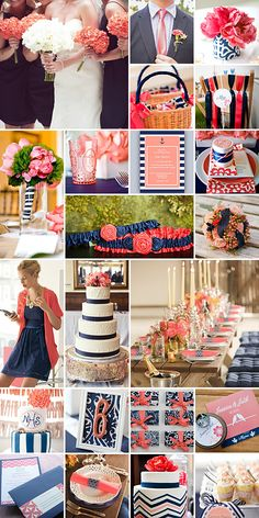 Navy and Coral Weddings aka my wedding colors Wedding Themes, Wedding Blog, Wedding Events, Our Wedding, Dream Wedding, Wedding Decorations, Wedding Cakes, Stage Decorations, Wedding Stage