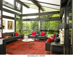 Self Build Huf Haus living room interior - Stock Image