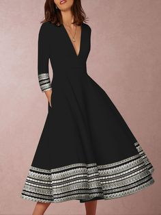 0e8ad89204 Deep V-Neck Patchwork Geometric Printed Skater Dress