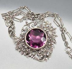 Edwardian Necklace Sterling Silver FiIligree Amethyst by boylerpf