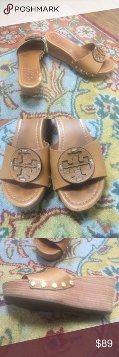Tory burch patti wedges 6 Tan Tory burch patti wedges size 6. Worn about 10 times and show wear Tory Burch Shoes Wedges