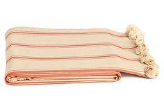 Pom-Pom Cotton Beach Blanket, Red #TheBeach #BeachTowel #BeachBlanket