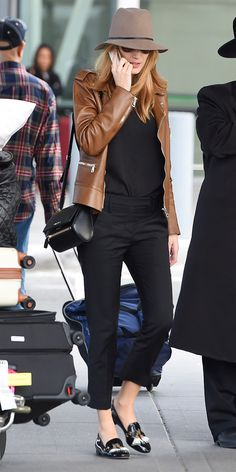 IN LOVE WITH BLACK, WHITE AND COGNAC TASSLED LOAFERS IN THIS IMAGE. Blake Lively Goes Incognito in Janessa Leone and Gucci