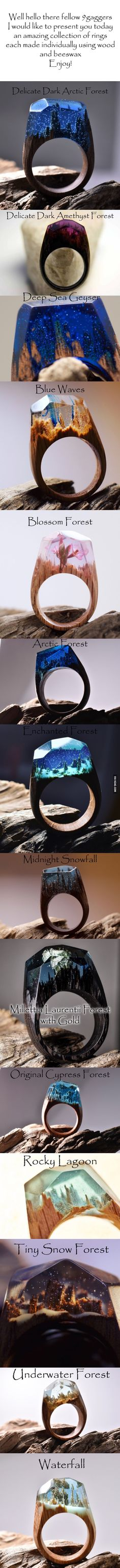 Incredible rings made from wood and beeswax! <3 Purchase go to http://www.mysecretwood.com/products/