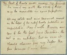 """John Keats's will, 1820  """"My Chest of Books divide among my friends ..."""""""