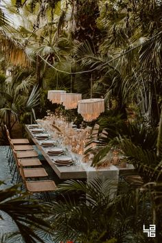 Enchanting Jungle Wedding Reception at Acre, Baja. Private jungle area for an intimate wedding reception or private celebration. Wedding Table Centerpieces, Flower Centerpieces, Wedding Decorations, Centerpiece Ideas, Wedding Ideas, Wedding Planning, Outdoor Spaces, Outdoor Living, Deco Table