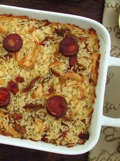 Chicken and chouriço rice in the oven Confort Food, Portuguese Recipes, Portuguese Food, How To Cook Rice, Casserole Recipes, Food Inspiration, Love Food, Cooking Recipes, Cooking Rice