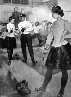 """Historical looking image on the main school page of """"Salle Saint-George."""" Traditional French foil school."""