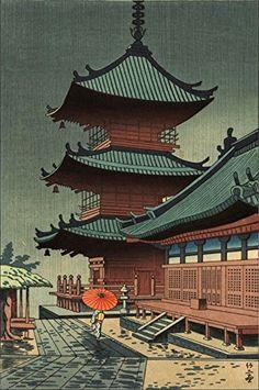 "Japanese Art Print ""Rain in Kiyomizu Temple"" by Asano Takeji. Shin Hanga and Art Reproductions http://www.amazon.com/dp/B00XTJ4SNY/ref=cm_sw_r_pi_dp_G6.swb10SGG1M"