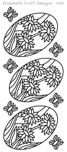 Elizabeth Craft Designs Peel-Off Sticker -2558B Oval Daisy Black