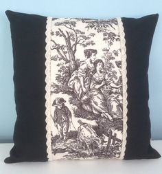 Black and ivory toile pillow cover. Waverly by SterlingStitchery