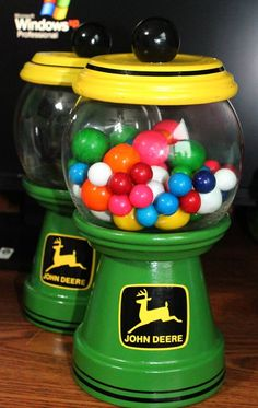 Father's Day John Deere painted terra cotta candy or gumball jar.
