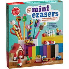 Klutz® Make Your Own Mini Erasers lets children sculpt their very own creations with eraser clay. Children then bake them in the oven to make adorable, slightly squishy erasers that really work. Features 8 colors of clay and 35 designs. Chips Ahoy, Craft Kits For Kids, Crafts For Kids, Make Your Own, Make It Yourself, Pencil Eraser, Baby Milestones, Clay Charms, Cookies Et Biscuits