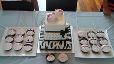 BABY+SHOWER+CAKE+BLACK+WHITE+PINK