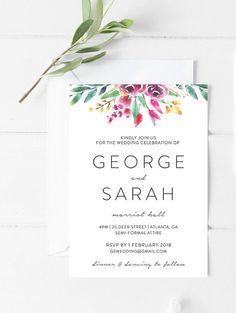 Printable Menu, Printable Wedding Invitations, Diy Invitations, Floral Wedding Invitations, Wedding Stationery, Celebrity Weddings, Beautiful Day, Rsvp, Greenery