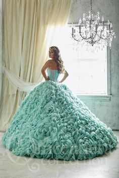Make heads turn in this blazingly beautiful gown made from sparkle tulle done in a rosette layout and endowed with a finely beaded bodice. Features corset back. Download the Quinceanera Collection by