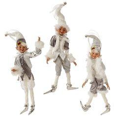 """WHITE & SILVER 16"""" POSABLE ELF ORNAMENT 3502315 Raz Imports Christmas NEW #RAZImports"""