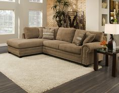 For casual and comfortable seating, the Oates modular sectional group is just what the doctor ordered. With room enough for at least 3 people to sit and lounge together it will become an oasis for both family and friends. The rolled arms and nailhead trim add a touch of elegance to the trendy traditional style. Multiple configurations are available including a large 3 piece sectional. A 41