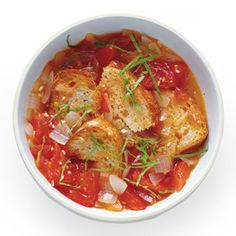 Mark Bittman recipe for Garlicky Pappa al Pomodoro    Ingredients  1 onion, chopped    3-4 tablespoons minced garlic    1/4 cup olive oil    2 pounds of tomatoes, chopped    2 cups vegetable or chicken stock    2 cups day-old bread, torn    Basil