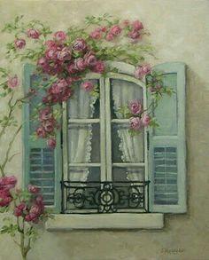 Chateau De Fleurs: My Love of French Windows Inspired a New Romantic Rose Painting! So gorgeous! Decoupage Paper, Beautiful Paintings, Vintage Images, Painting Inspiration, Painting & Drawing, Watercolor Paintings, Illustration Art, Artsy, Wall Art