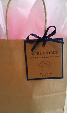 wedding gift bags for hotel guests | Welcome Tags for Guest Bags from Anne Elizabeth Designs on Etsy