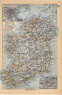 1928 Vintage Map Ireland Wall Decor to Frame por CarambasVintage