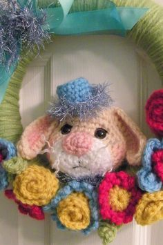 Easter Wreath Crochet Bunny and Flower PDF Pattern by thewoolpurl, $4.95