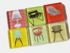 Midcentury Modern Chair Magnets  Square Glass by RetroModHome, $10.25